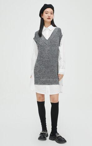 休閒簡約寬鬆設計感假兩件針織連衣裙