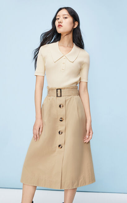2in1法式氣質短袖針織洋裝, 白, large