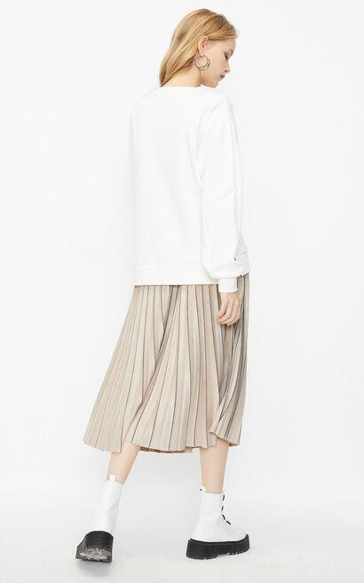 圓領寬鬆印花潮感衛衣, 白, large