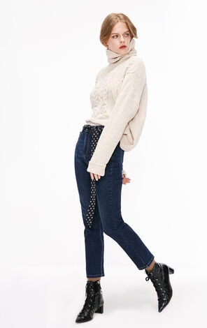 冬季新款高腰直筒九分牛仔褲女|118449517