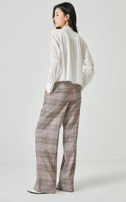 氣質編織工藝長袖襯衫, 白, large