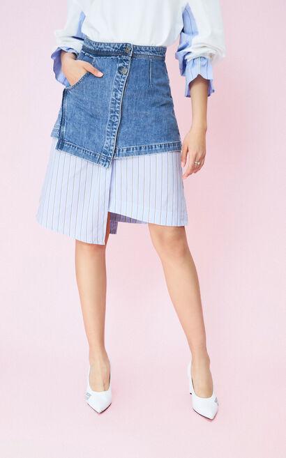 不規則條紋拼接丹寧A字短裙, 湖藍色, large