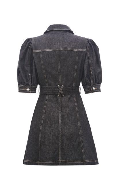 復古風澎袖修身牛仔洋裝, 黑, large