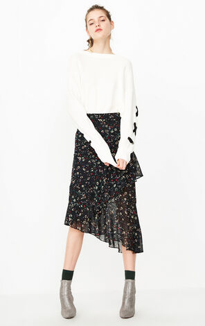 冬季新款綁帶圓領針織衫女|118324532