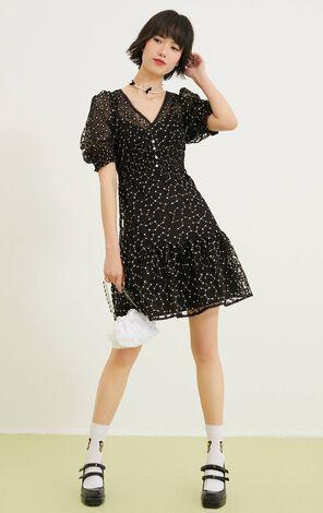 小雛菊收腰兩件式背心洋裝