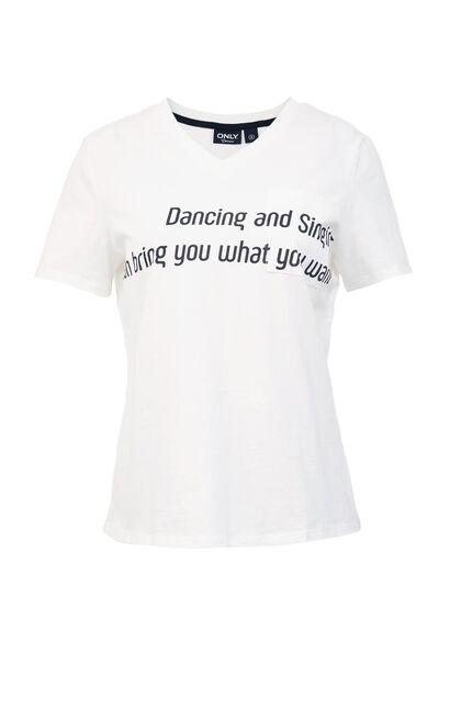 純棉印花休閒短袖T恤, 白, large