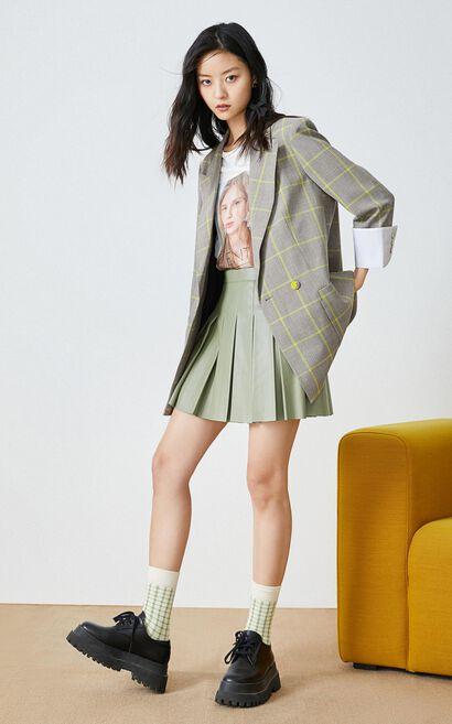 經典直筒薄墊肩西裝外套, 黃, large
