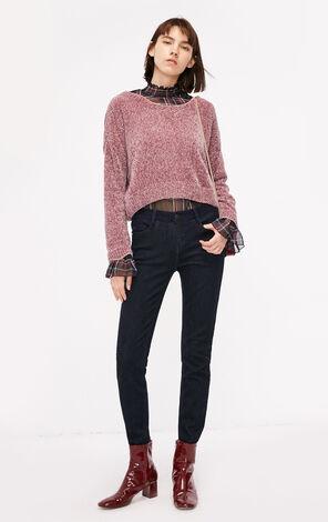 冬季新款低腰拼接緊身牛仔褲女|118432517