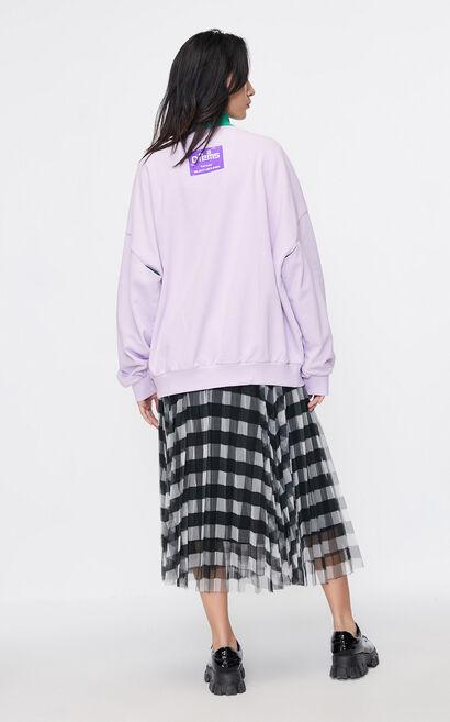 個性字母寬鬆彩色衛衣, 紫紅色, large