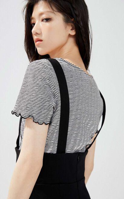 紐扣裝飾吊帶裙, 黑, large