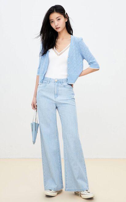 高腰寬鬆闊腿牛仔褲, 水藍色, large