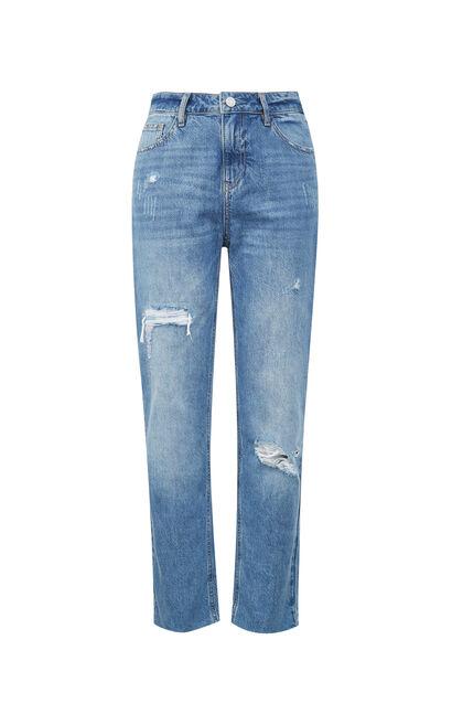 刷破反折九分牛仔褲, 藍, large