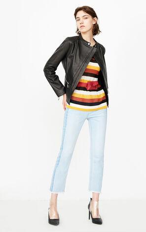 冬季新款簡約修身皮衣夾克女|118310518