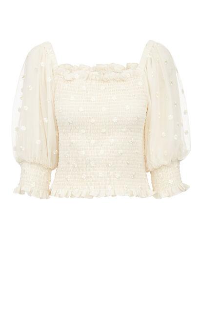 清新小花泡袖鬆緊短版上衣, 白, large