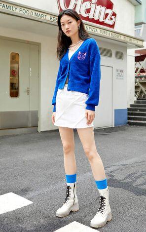 【秋冬新款】卡通刺繡印花短版針織外套