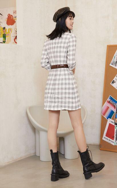 2IN1復古格紋西裝洋裝, 杏色, large
