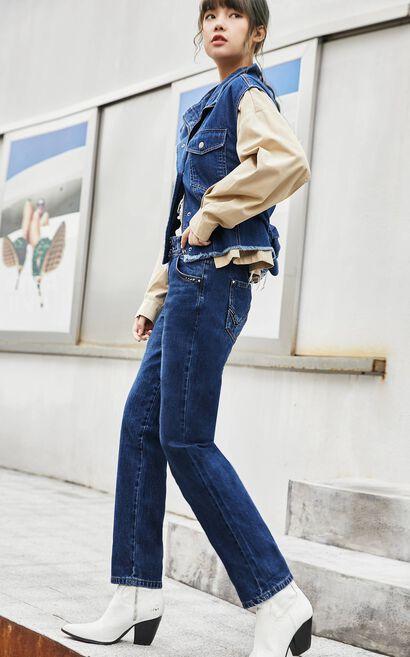 施華洛世奇亮鑽九分牛仔褲, 深藍, large