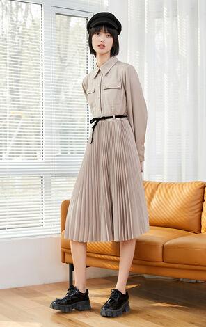 【冬季新款】時尚收腰百褶中長款洋裝
