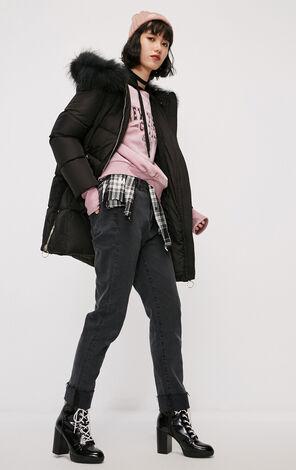 冬季新款金屬環連帽長款羽絨服女|118312590