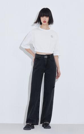 時尚百搭高腰顯瘦直筒長褲牛仔褲