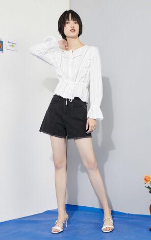 【秋冬新款】鏤空緹花繫帶傘袖長袖襯衫