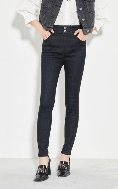 時尚高腰舒適緊身顯瘦牛仔褲, 黑, large