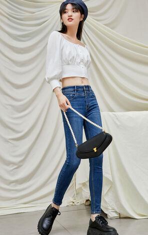 【冬季新款】百搭修身顯瘦九分牛仔褲