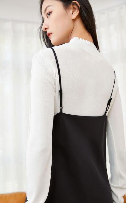 【春季新款】兩件套蕾絲吊帶中長款洋裝, 黑, large