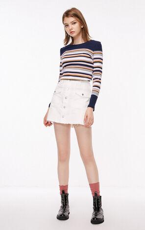 秋季新款條紋針織長袖T恤女|118302522