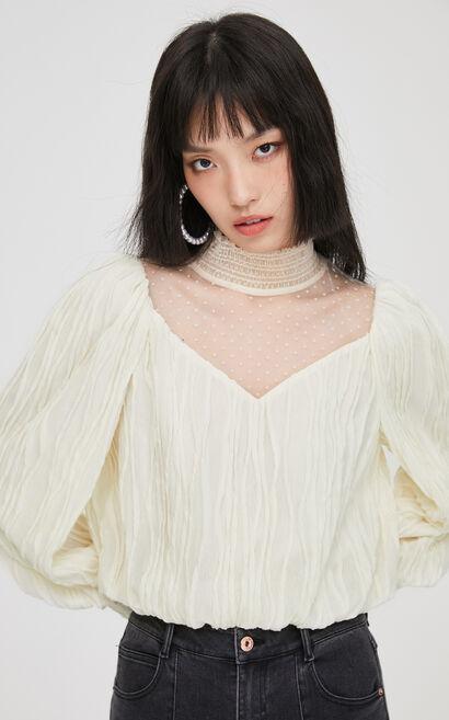 時尚百搭寬鬆高領澎澎袖T恤, 白, large