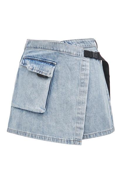 不規則綁帶牛仔短褲, 水藍色, large