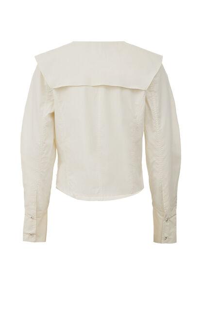 時髦娃娃領字母刺繡襯衫, 白, large