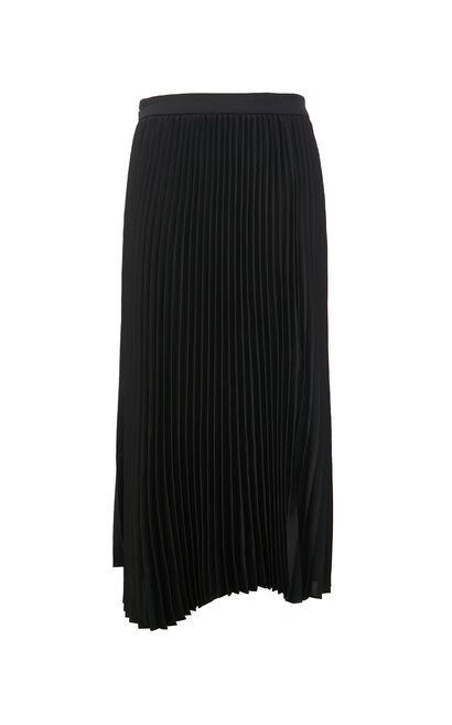 時尚開叉百褶中長裙, 黑, large