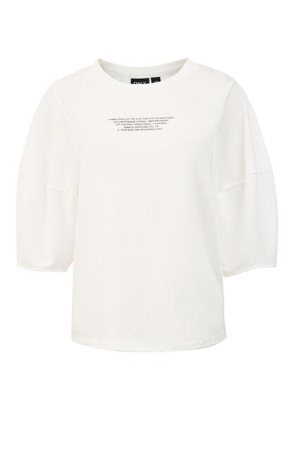 舒適寬鬆印花落肩圓領T恤, 白, large