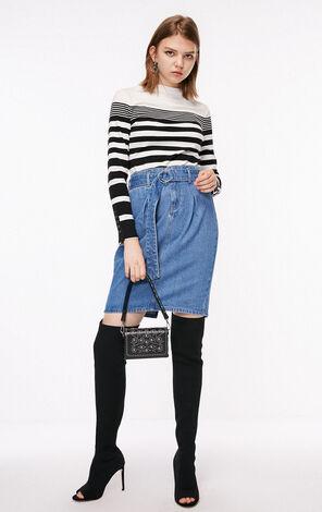 秋季新款修身條紋針織T恤女|118302521