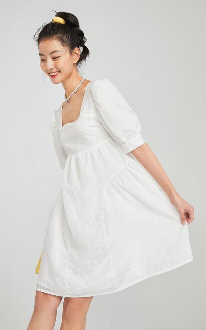 復古燈籠袖方領洋裝, 白, large