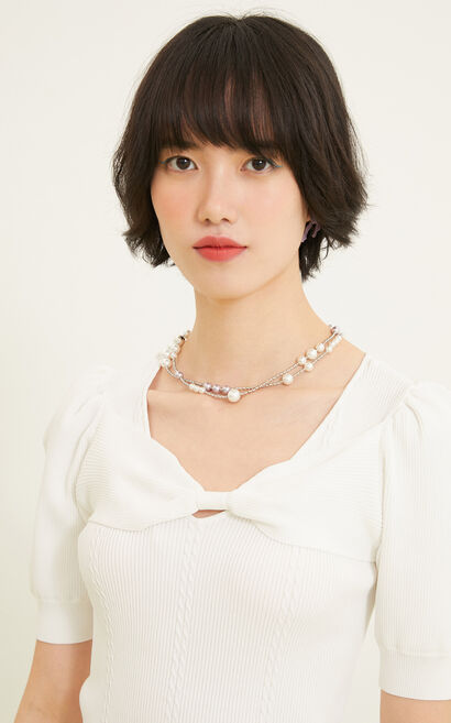 蝴蝶結裝飾純色短袖針織衫, 白, large