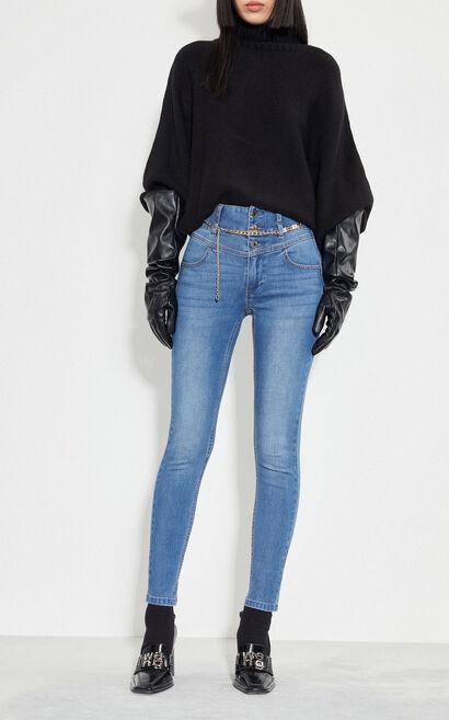時尚高腰緊身彈力牛仔褲, 藍, large