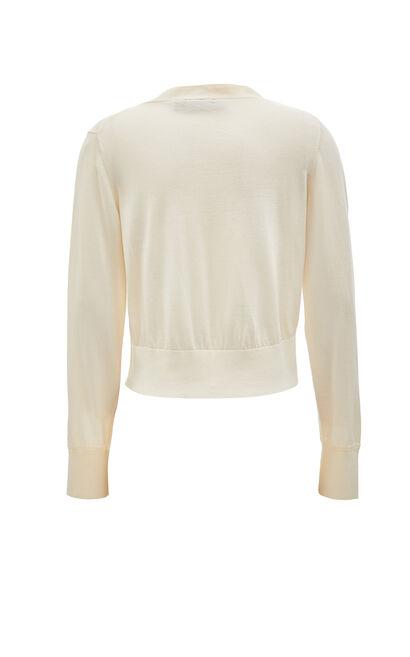氣質百搭舒適薄款V領針織衫, 白, large