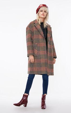 冬季新款含羊毛格紋毛呢外套女|11834S541