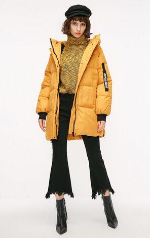 冬季新款口袋裝飾連帽長款羽絨服女|118312540