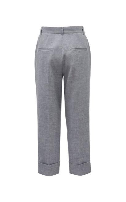 質感高腰寬鬆翻折休閒褲, 軍綠, large