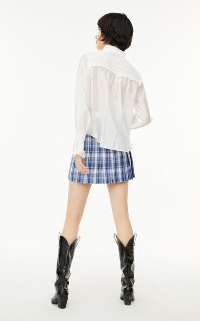 法式荷葉泡袖繫帶襯衫, 白, large