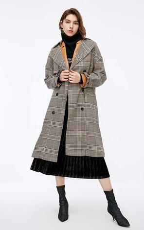 冬季新款復古格紋風衣外套女|118336562