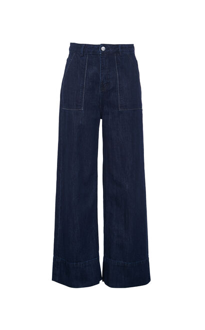 高腰寬鬆闊腿丹寧褲, 淺藍, large