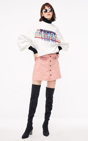 冬季新款拼接設計A字牛仔半身裙女|118437502