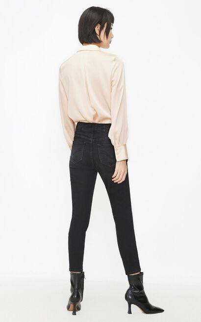 不對稱設計感荷葉邊襯衫, 艷粉色, large