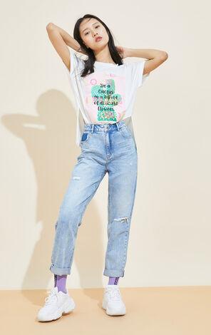 亮片裝飾圓領短袖T恤