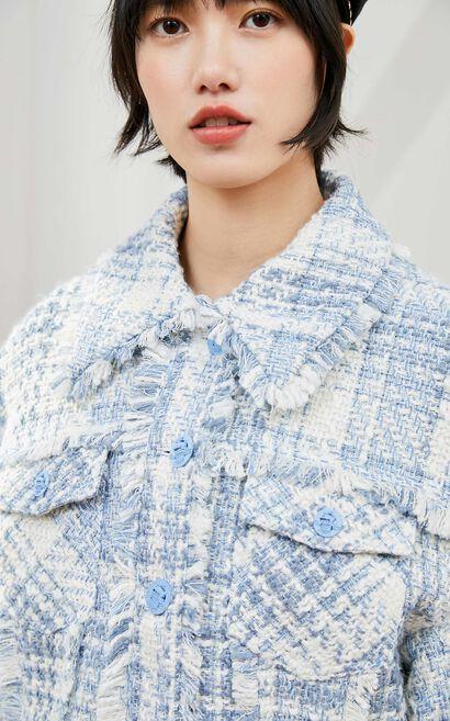 【2件8折】復古粗毛呢短款格紋外套, 檸檬黃, large