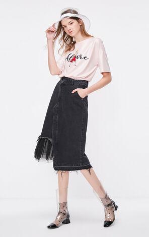 亮粉系帶寬鬆半袖T恤